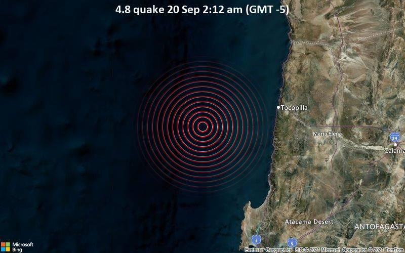 Moderates Erdbeben der Stärke 4.8 - South Pacific Ocean, 87 km westlich von Tocopilla, Antofagasta, Chile, am Montag, 20. Sep 2021 um 02:12 Lokalzeit