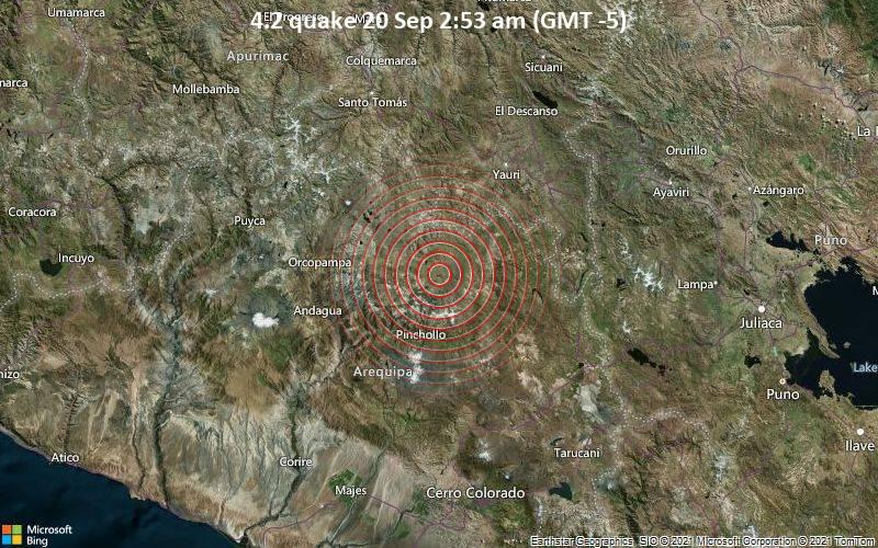 Leichtes Erdbeben der Stärke 4.2 - Provincia de Caylloma, Arequipa, 69 km südwestlich von Espinar, Cusco, Peru, am Montag, 20. Sep 2021 um 02:53 Lokalzeit
