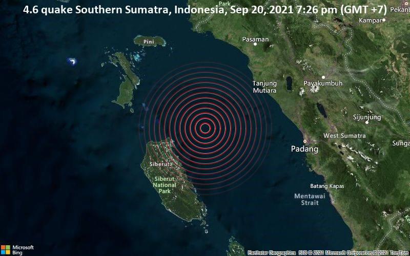 Moderates Erdbeben der Stärke 4.6 - Southern Sumatra, Indonesia, am Montag, 20. Sep 2021 um 19:26 Lokalzeit