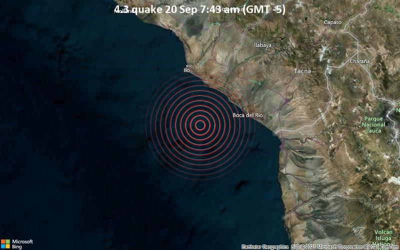 Leichtes Erdbeben der Stärke 4.3 - South Pacific Ocean, 71 km südlich von Ilo, Moquegua, Peru, am Montag, 20. Sep 2021 um 07:43 Lokalzeit
