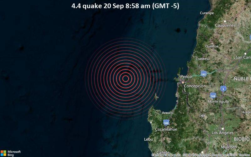 Moderates Erdbeben der Stärke 4.4 - South Pacific Ocean, 90 km westlich von Concepción, Provincia de Concepcion, Region del Biobio, Chile, am Montag, 20. Sep 2021 um 08:58 Lokalzeit