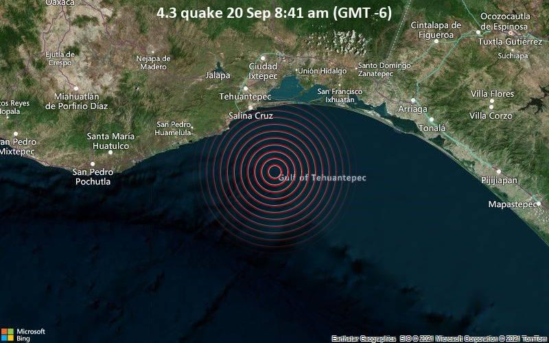 Leichtes Erdbeben der Stärke 4.3 - Nordpazifik, 57 km südlich von Salina Cruz, Oaxaca, Mexiko, am Montag, 20. Sep 2021 um 08:41 Lokalzeit