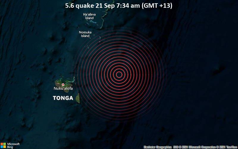 Starkes Magnitude 5.6 Erdbeben - South Pacific Ocean, 109 km östlich von Nuku'alofa, Nuku'alofa, Tongatapu, am Dienstag, 21. Sep 2021 um 07:34 Lokalzeit