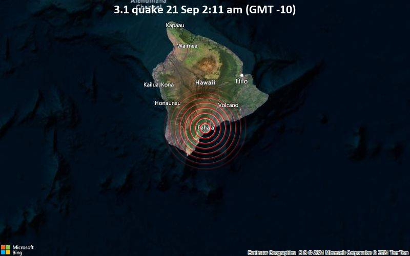 Schwaches Erdbeben Stärke 3.1 - 1.6 km südwestlich von Pāhala, Hawaii County, USA, am Dienstag, 21. Sep 2021 um 02:11 Lokalzeit