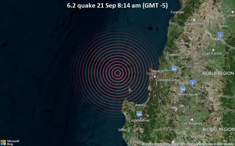 Sehr starkes Magnitude 6.2 Erdbeben - South Pacific Ocean, 63 km westlich von Concepción, Provincia de Concepcion, Region del Biobio, Chile, am Dienstag, 21. Sep 2021 um 08:14 Lokalzeit