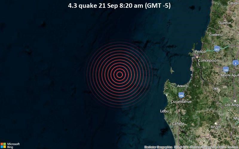 Moderates Erdbeben der Stärke 4.3 - South Pacific Ocean, 94 km nordwestlich von Puerto Lebu, Arauco, Region del Biobio, Chile, am Dienstag, 21. Sep 2021 um 08:20 Lokalzeit