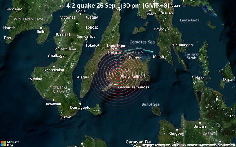 Moderates Erdbeben der Stärke 4.2 - 28 km nordöstlich von Tagbilaran, Bohol, Central Visayas, Philippinen, am Sonntag, 26. Sep 2021 um 13:30 Lokalzeit