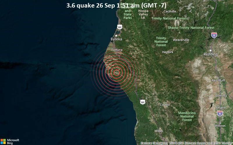 Leichtes Erdbeben der Stärke 3.6 - 38 km südlich von Fortuna, Humboldt County, Kalifornien, USA, am Sonntag, 26. Sep 2021 um 01:51 Lokalzeit