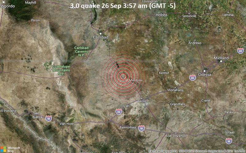 Leichtes Erdbeben der Stärke 3.0 - Reeves County, Texas, 82 km südöstlich von Carlsbad, Eddy County, New Mexico, USA, am Sonntag, 26. Sep 2021 um 03:57 Lokalzeit