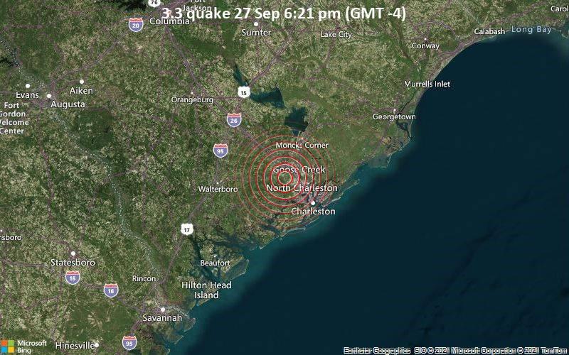 Leichtes Erdbeben der Stärke 3.3 - 8.5 km südlich von Summerville, Dorset County, South Carolina, USA, am Montag, 27. Sep 2021 um 18:21 Lokalzeit