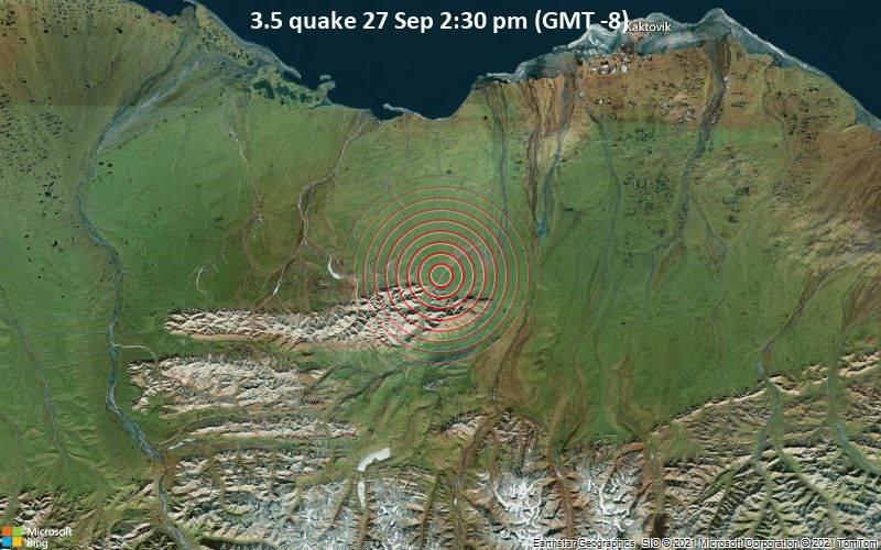 Leichtes Erdbeben der Stärke 3.5 - North Slope Parish, 153 km östlich von Prudhoe Bay, North Slope, Alaska, USA, am Montag, 27. Sep 2021 um 14:30 Lokalzeit