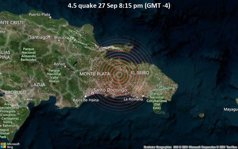 Leichtes Erdbeben der Stärke 4.5 - Hato Mayor, Provincia de Hato Mayor, 40 km nördlich von San Pedro de Macorís, Dominikanische Republik, am Montag, 27. Sep 2021 um 20:15 Lokalzeit