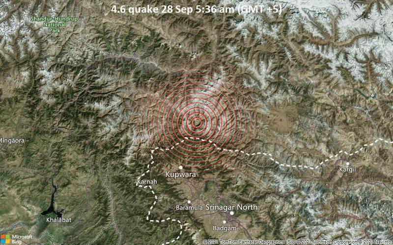 Leichtes Erdbeben der Stärke 4.6 - Neelum District, Pakistan, 73 km nördlich von Sopur, Indien, am Dienstag, 28. Sep 2021 um 05:36 Lokalzeit