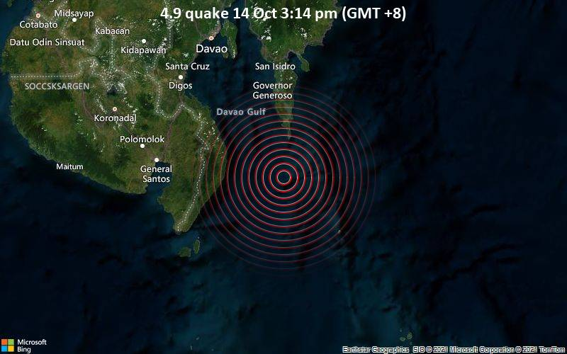 4.9 quake 14 Oct 3:14 pm (GMT +8)