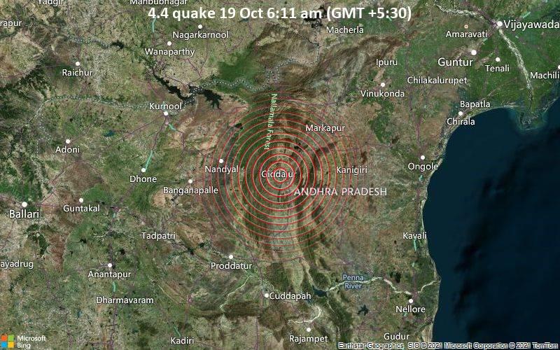 Moderates Erdbeben der Stärke 4.4 - 0.7 km südöstlich von Giddalūr, Prakasam, Andhra Pradesh, Indien, am Dienstag, 19. Okt 2021 um 06:11 Lokalzeit