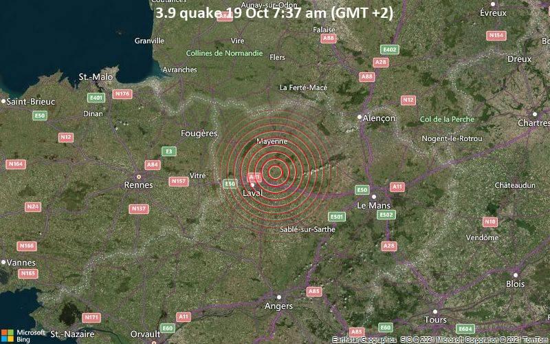 Leichtes Erdbeben der Stärke 3.9 - 15 km nordöstlich von Laval, Mayenne, Pays de la Loire, Frankreich, am Dienstag, 19. Okt 2021 um 07:37 Lokalzeit