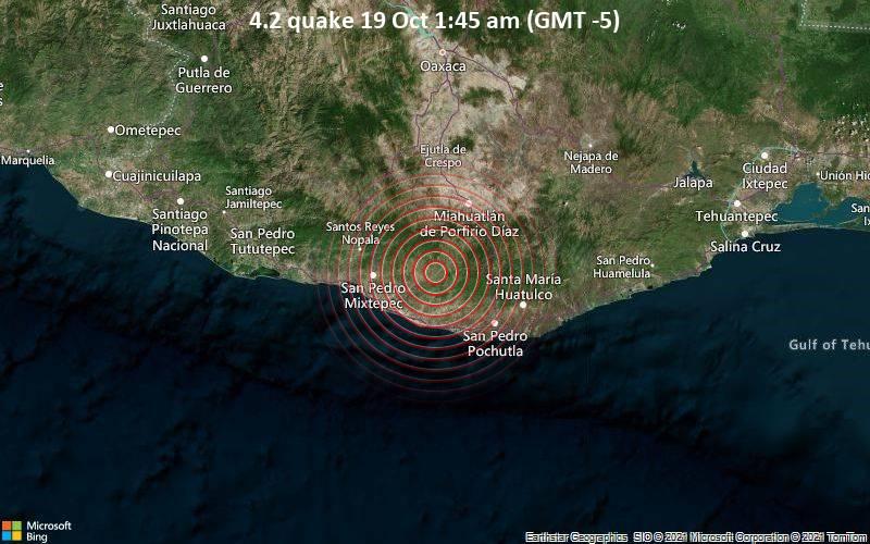 Moderates Erdbeben der Stärke 4.2 - San Baltazar Loxicha, 36 km nordöstlich von Puerto Escondido, Mexiko, am Dienstag, 19. Okt 2021 um 01:45 Lokalzeit