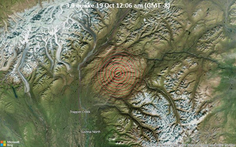 Schwaches Erdbeben Stärke 3.9 - Matanuska-Susitna Parish, 160 km nördlich von Alaska City, Anchorage, Alaska, USA, am Dienstag, 19. Okt 2021 um 00:06 Lokalzeit