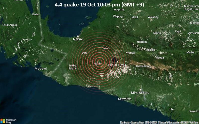 Moderates Erdbeben der Stärke 4.4 - 83 km südöstlich von Nabire, Papua, Indonesien, am Dienstag, 19. Okt 2021 um 22:03 Lokalzeit