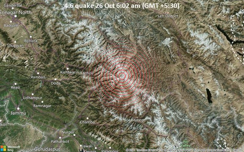 4.6 quake 26 Oct 6:02 am (GMT +5:30)