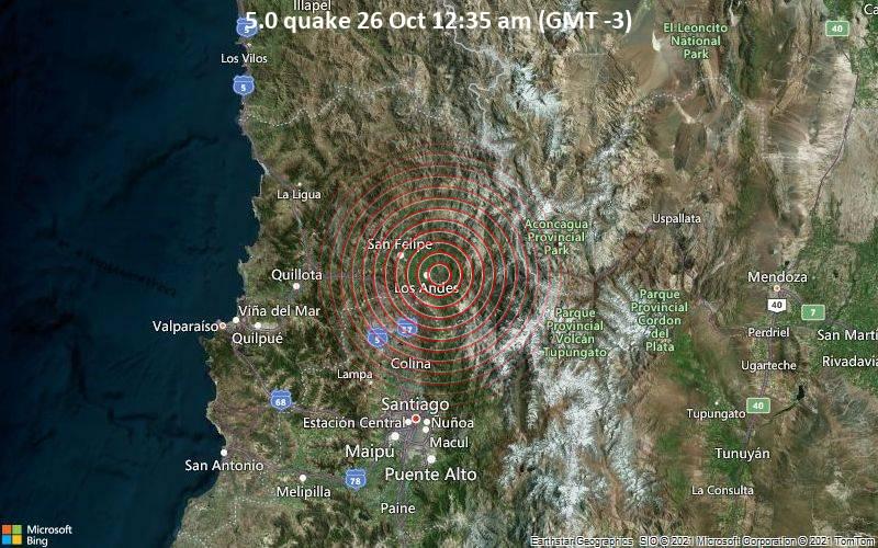 5.0 quake 26 Oct 12:35 am (GMT -3)