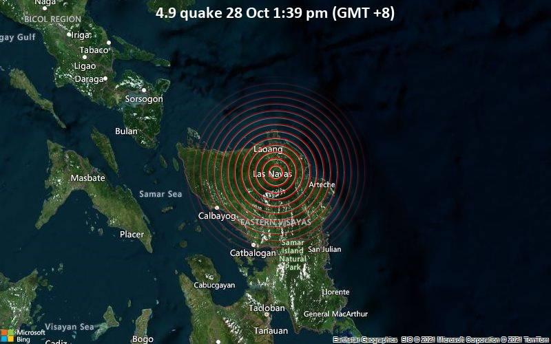 Leichtes Erdbeben der Stärke 4.9 - Samar, 49 km östlich von Catarman, Northern Samar, Eastern Visayas, Philippinen, am Donnerstag, 28. Okt 2021 um 13:39 Lokalzeit