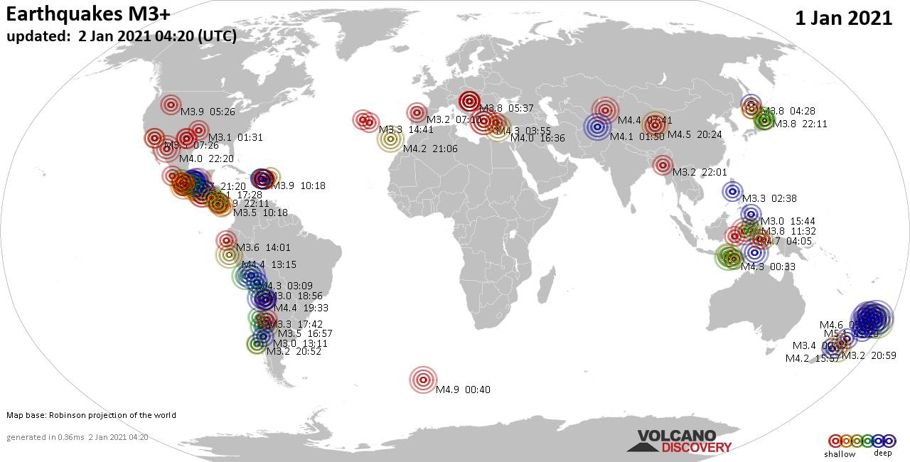 Worldwide earthquakes above magnitude 3 during the past 24 hours on  2 Jan 2021