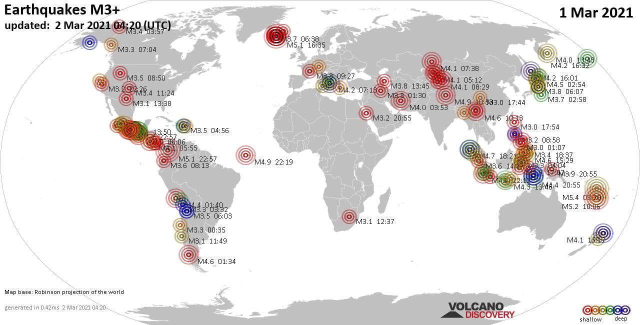 Weltkarte mit Erdbeben über Magnitude 3 während den letzten 24 Stunden past 24 hours am  2. März 2021