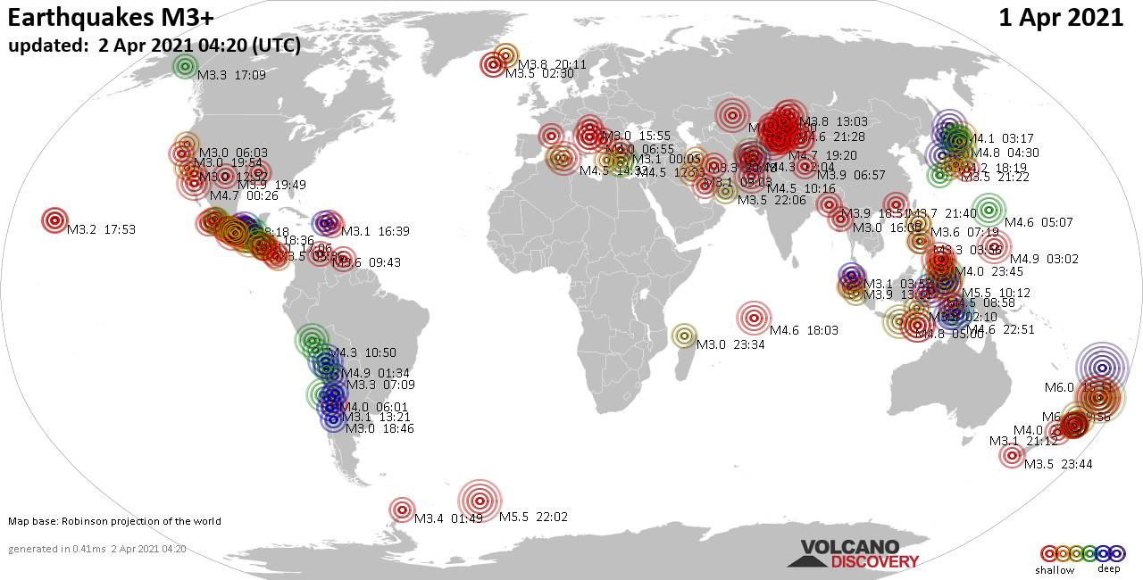 Worldwide earthquakes above magnitude 3 during the past 24 hours on  2 Apr 2021