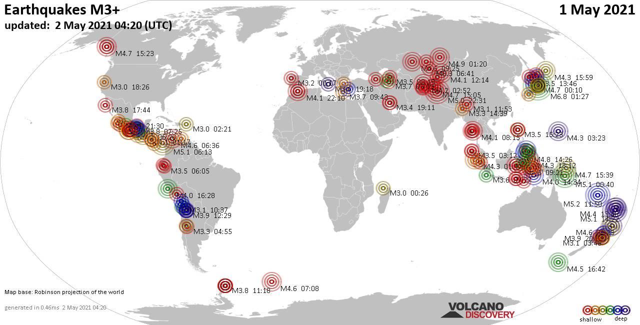 Más de 3 terremotos globales en las últimas 24 horas el 2 de mayo de 2021