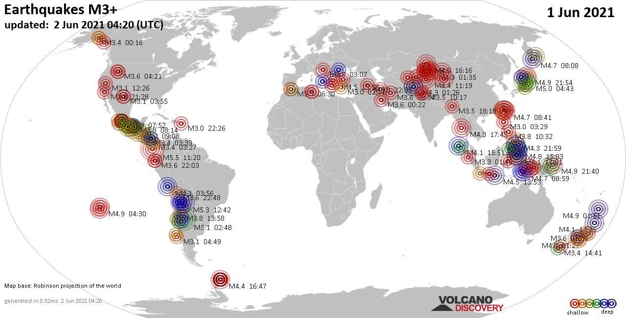 Weltkarte mit Erdbeben über Magnitude 3 während den letzten 24 Stunden past 24 hours am  2. Juni 2021