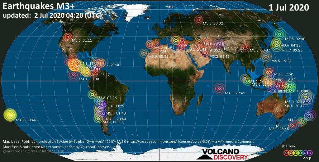 Mapa mundial que muestra terremotos de magnitud 3 en las últimas 24 horas  2 julio 2020