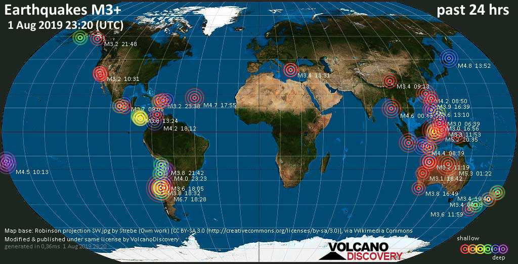 World map showing earthquakes above magnitude 3 during the past 24 hours on  1 Aug 2019