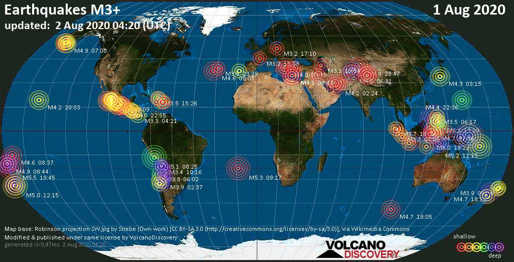 Worldwide earthquakes above magnitude 3 during the past 24 hours on  2 Aug 2020