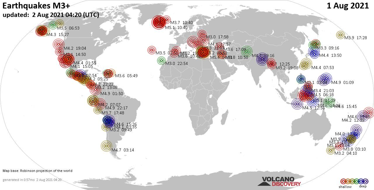 Worldwide earthquakes above magnitude 3 during the past 24 hours on  2 Aug 2021