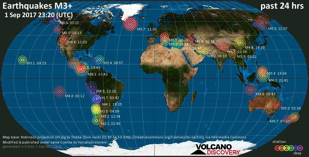 World map showing earthquakes above magnitude 3 during the past 24 hours on  1 Sep 2017