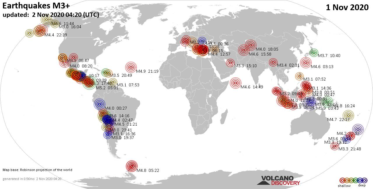 Worldwide earthquakes above magnitude 3 during the past 24 hours on  2 Nov 2020