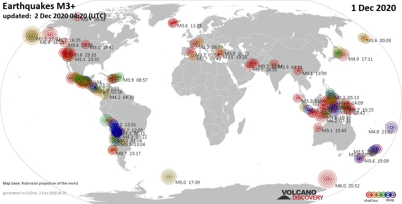 Worldwide earthquakes above magnitude 3 during the past 24 hours on  2 Dec 2020