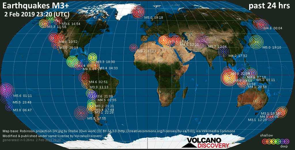 World map showing earthquakes above magnitude 3 during the past 24 hours on  2 Feb 2019