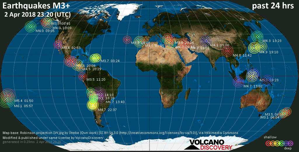 World map showing earthquakes above magnitude 3 during the past 24 hours on  2 Apr 2018