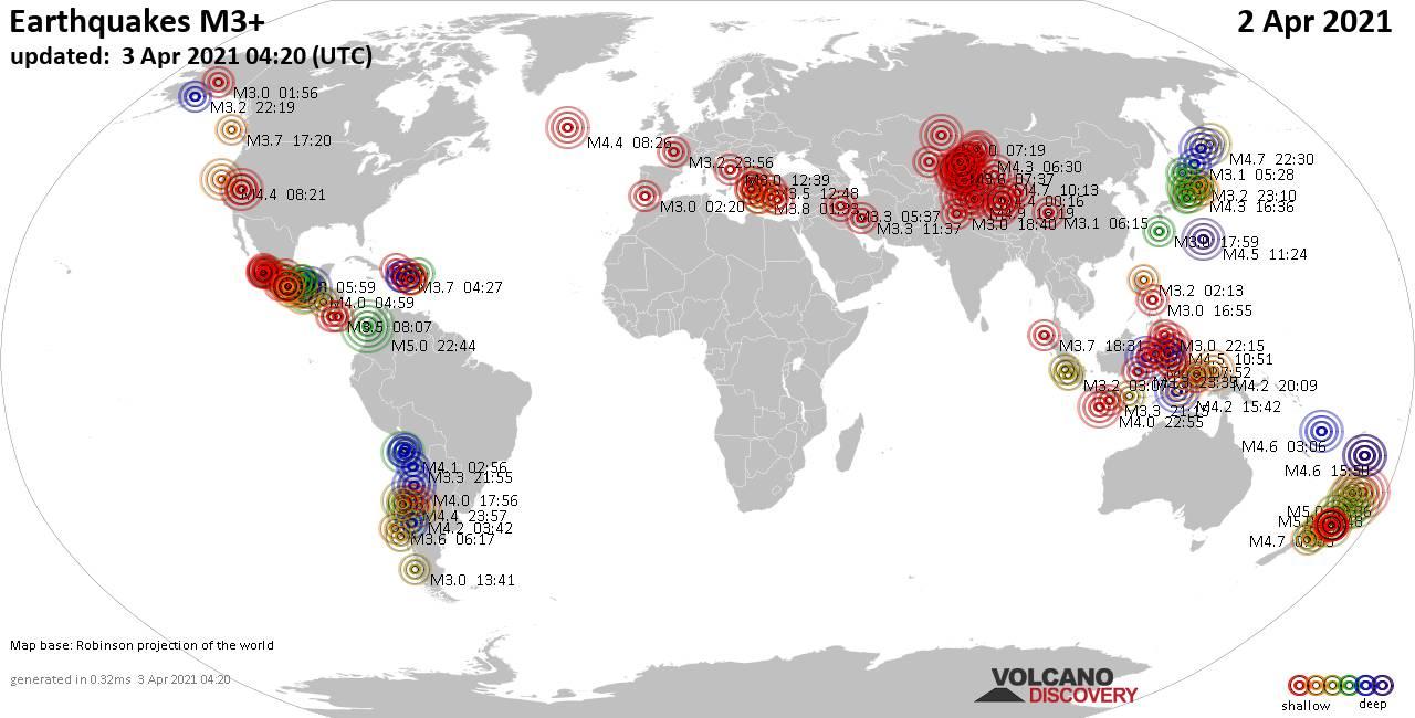 Lebih dari 3 gempa bumi global dalam 24 jam terakhir pada 3 April 2021