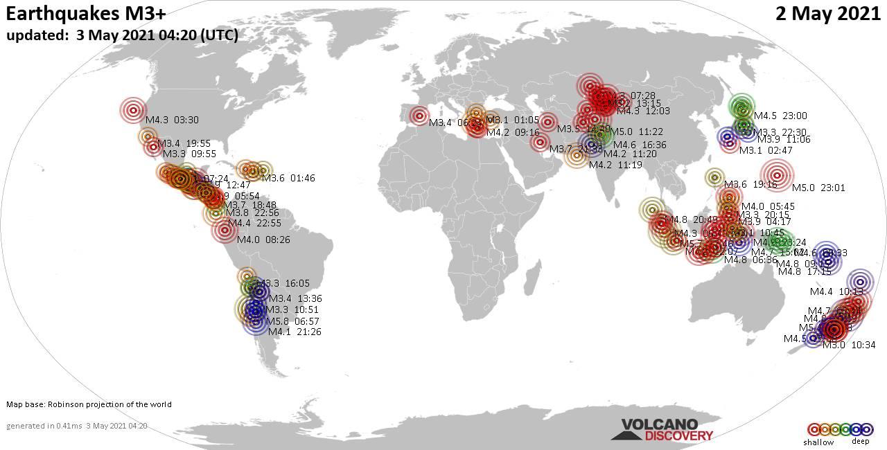 Mapa mundial que muestra terremotos de magnitud 3 en las últimas 24 horas  3 mayo 2021