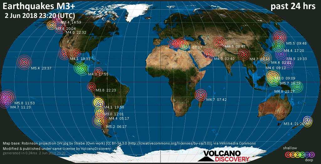 World map showing earthquakes above magnitude 3 during the past 24 hours on  2 Jun 2018