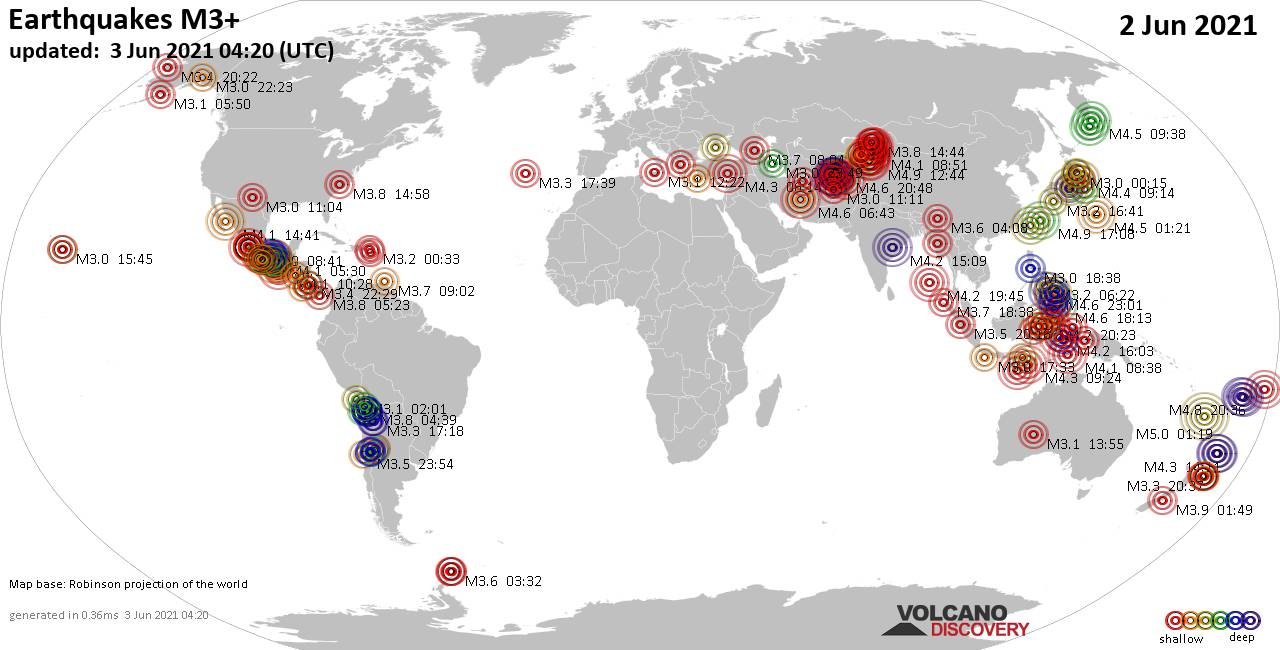 Worldwide earthquakes above magnitude 3 during the past 24 hours on  3 Jun 2021