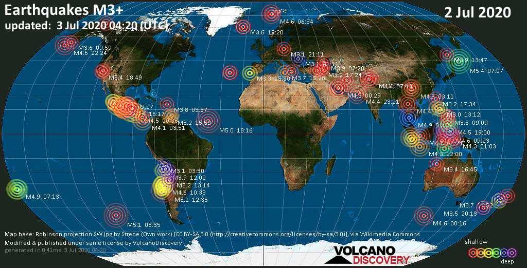 Mappa del mondo che mostra i terremoti sopra la magnitudo 3 nelle ultime 24 ore il  3 julio 2020