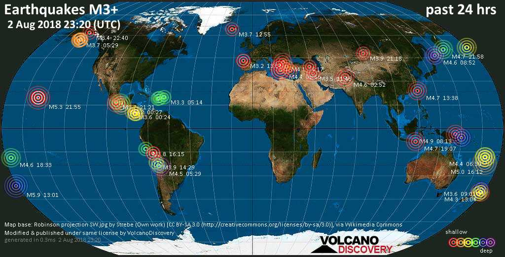 World map showing earthquakes above magnitude 3 during the past 24 hours on  2 Aug 2018