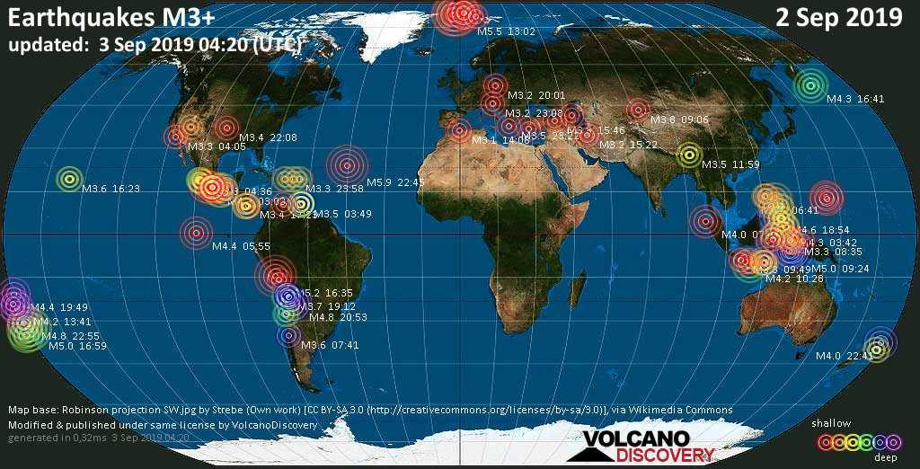 Weltkarte mit Erdbeben über Magnitude 3 während den letzten 24 Stunden past 24 hours am  3. September 2019