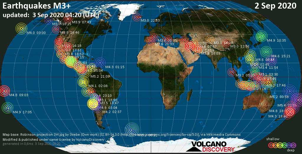 Worldwide earthquakes above magnitude 3 during the past 24 hours on  3 Sep 2020