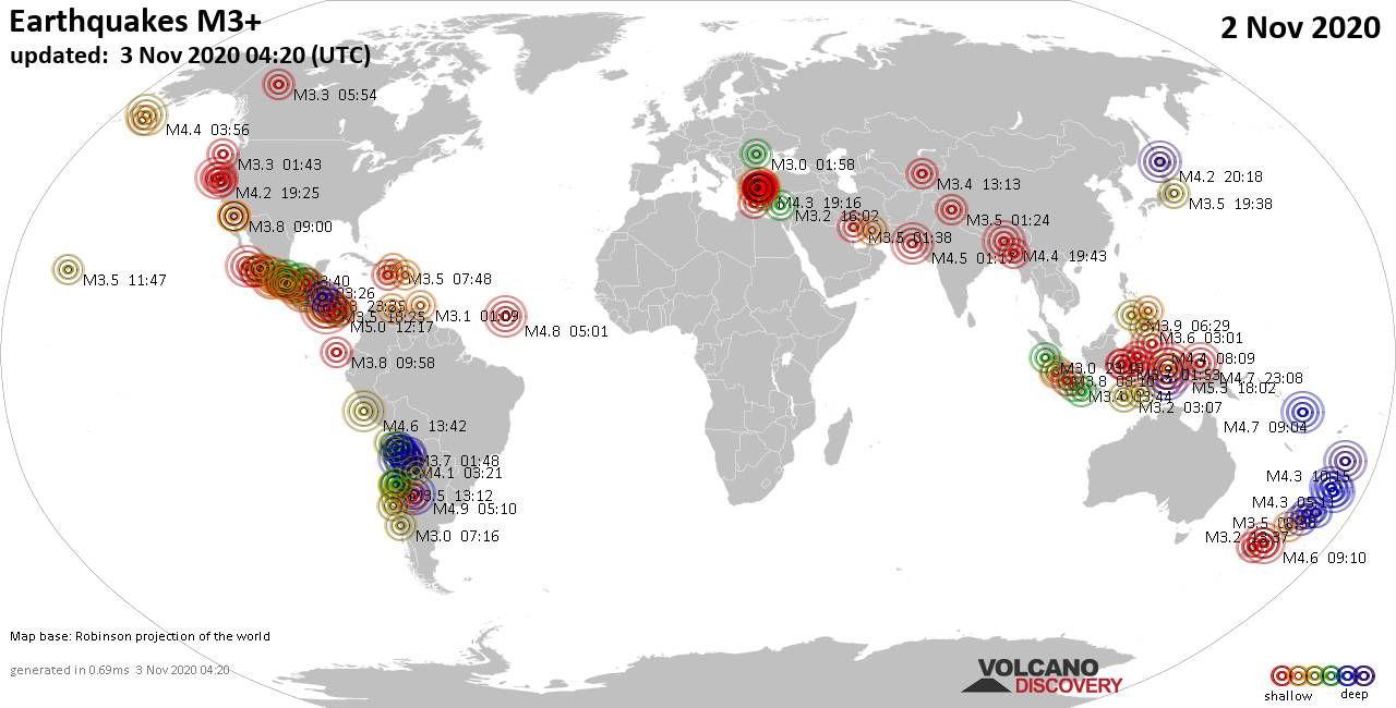 Worldwide earthquakes above magnitude 3 during the past 24 hours on  3 Nov 2020