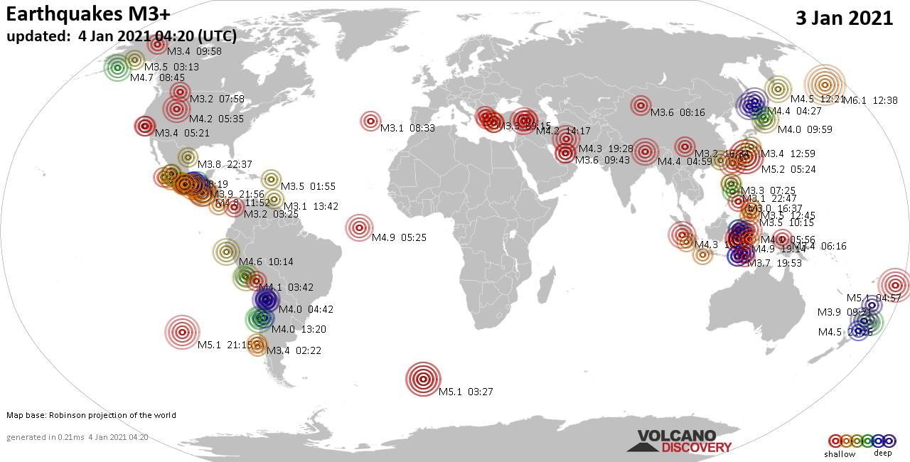 Worldwide earthquakes above magnitude 3 during the past 24 hours on  4 Jan 2021